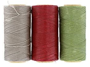 Waxed Jewelry Cord Set Of 3 Spools Appx 360yd Each 0.50mm Cord In Dark Red, Silver, and Sage