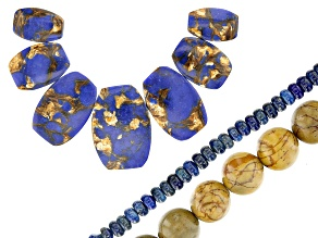 Focal Set of 7, Marble Appx 10mm Round, & Lapis Lazuli Appx 4mm Rondelle Bead Strands