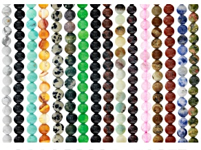 Assorted Gemstones Round Bead Strand Set of 16 in Assorted Colors Appx. 15-16""