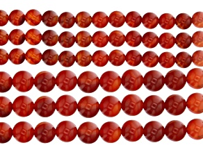 Carnelian and Sard Round Appx 8 & 10mm Bead Strand Set of 6 Appx 14-15