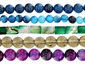 Multi Color Agate and Glass Round and Cylinder Bead Strand Set of 5 Appx 15-16