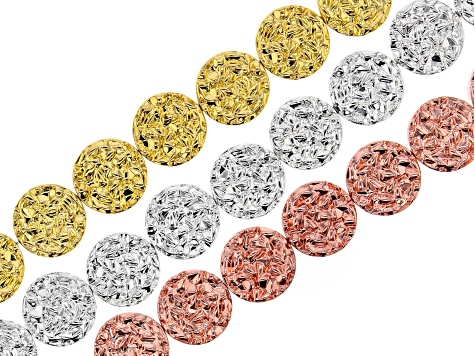 Hematine Textured Coin Appx 12mm Bead Strand Set of 3 in Gold Tone, Silver Tone, and Rose Gold Tone