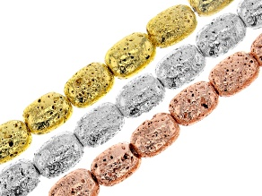 Lava Stone Appx 14x10mm Barrel Shape Bead Strand Set of 3 in Gold, Silver, and Rose Gold Tone