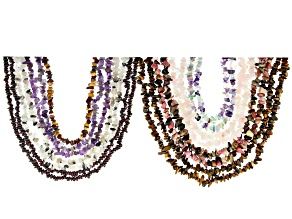 Multi-Gemstone Chip Strand Set of 15 Appx 32-34