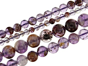Lodalite Amethyst Appx 4, 6, 8, & 10mm Round Bead Strand Set of 4