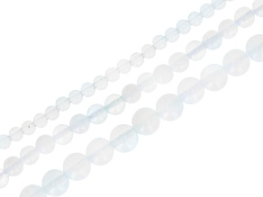Opalite Appx 4, 6, & 8mm Round Bead Strand Set of 3 Appx 14-15""