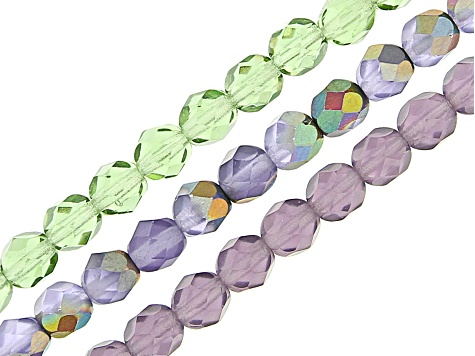 Czech Glass Faceted Round Appx 6mm Bead Strand Set of 8 in Assorted Colors