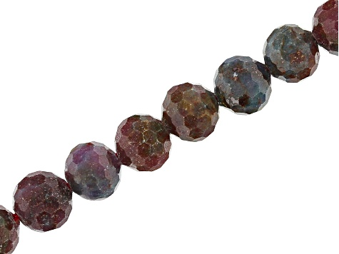 "Fancy Sapphire Appx 10mm Faceted Round Bead Strand Appx 15-16"" in length"
