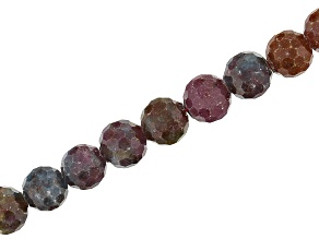 "Fancy Sapphire Appx 8mm Faceted Round Bead Strand Appx 15-16"" in length"