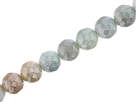 Iridescent Quartz Appx 6mm Faceted Round Bead Strand Appx 15-16