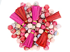 Akola Karatasi Paper Bead, Tassel, and Charm Kit in Pink Colorway 168 Pieces Total