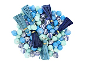 Akola Karatasi Paper Bead, Tassel, and Charm Kit in Blue Colorway 168 Pieces Total