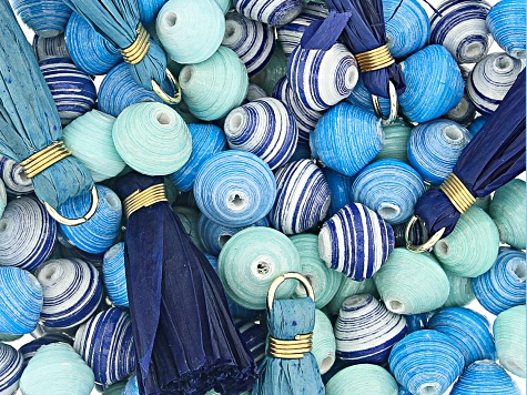 Akola Karatasi Paper Bead, Tassel, and Charm Kit in Blue Colorway 168 Pieces Total
