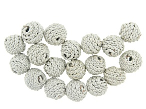 Akola Leather Wrapped Beads in Pearl Color 18 Pieces Total