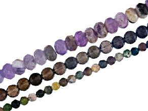 Amethyst 8mm Rondelle, Fancy Chalcedony 4mm  Round,&Smoky Quartz 6mm Round Faceted Bead Strand Set/3