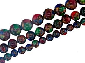 Multi Color Mosaic Quartz Appx 6, 8, & 10mm Round Bead Strand Set of 3