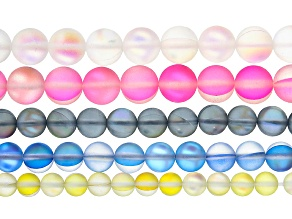 Mermaid Glass appx 10, 8, & 6mm Round Bead Strand Set of 5 in Assorted Colors and Sizes