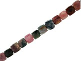 Multi Color Tourmaline Faceted appx 4mm Cube Bead Strand appx 15-16
