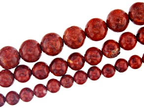 Red Sponge Coral Appx 6, 8, & 10mm Round Bead Strand Set of 3 Appx 14-15