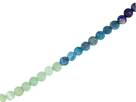 Matte Chakra Colors Appx 6mm Round Bead Strand and Quartz Crystal Point Focal