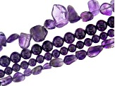 Amethyst Loose Beads in Assorted Shapes and Sizes in Storage Case