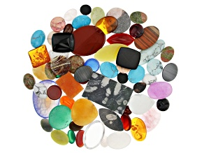 Cabochon Assorted Stones Appx 1/2 lb Mix In Various Shapes, Colors & Sizes