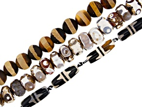 Dzi Inspired Agate Round, Rondelle, and Barrel Bead Strand Set of 3 Appx 12-13