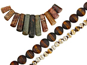 Mixed Ornamental Stone Focal Set of 11 & Dzi Inspired Agate Round Bead Strand Set of 2 Appx 14-15