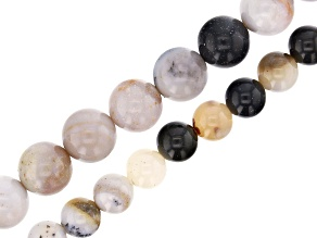 Parral Dendritic Agate Appx 6mm & 8mm Round Bead Strand Set of 2 Appx 15-16