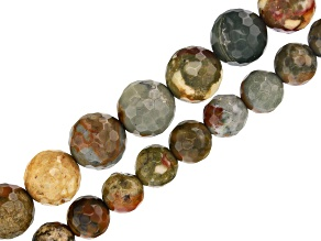 """Rocky Butte Jasper Appx 6mm & 8mm Faceted Round Bead Strand set of 2 Appx 15-16"""" in Length"""