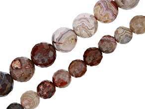 Laguna Lace Agate Appx 6mm & 8mm Faceted Round Bead Strand set of 2 Appx 15-16