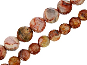 "Red Crazy Lace Agate Appx 6mm & 8mm Faceted Round Bead Strand set of 2 Appx 15-16"" in Length"
