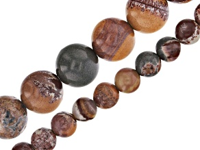 "Sonora Rhyolite Appx 6mm & 10mm Round Bead Strand Set of 2 Appx 15-16"" in Length"