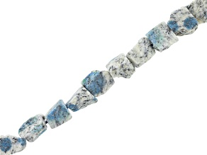 "Azurite in Granite Matrix Rough Tumbled Nuggets Bead Strand Appx 15-16"" Length"