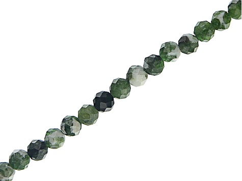 Chrome Diopside in White Matrix Appx 3mm Diamond Cut Round Bead Strand Appx 15-16