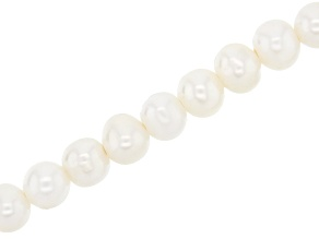 Large Hole White Cultured Freshwater Pearl Appx 9-10mm Semi-Round Bead Strand Appx 8""