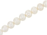Large Hole White Cultured Freshwater Pearl Appx 10-11mm Semi-Round Bead Strand Appx 8