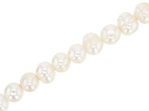 Large Hole White Cultured Freshwater Pearl Appx 8-11mm Potato Shape Bead Strand Appx 8