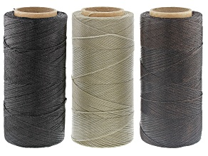 Waxed Jewelry Cord Spool Set of 3 in Black, Dark Brown and Ecru appx 360yds Each