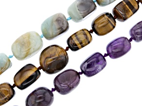Assorted Gemstone Nugget Bead Strand Set of 3 in assorted sizes appx 15-16