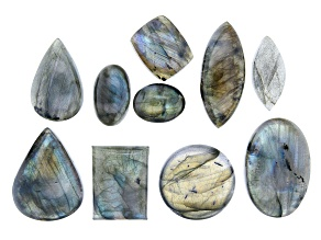 Labradorite Loose Cabochon Parcel in Assorted Sizes Appx 13x18-33x45mm Appx 90 Grams Appx 9 Pieces