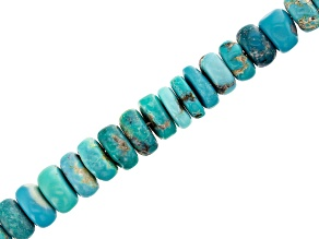"""Turquoise Appx 5-7mm Smooth Rondelle Bead Strand Appx 13"""" Length"""