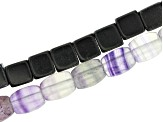 Fluorite Barrel Shape and Calcite Cube Shape Large Hole Bead Strand Set of 2