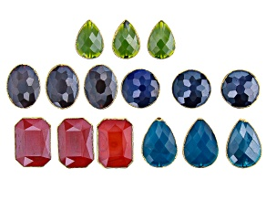 Gemstone Simulant Faceted Glass Bead & Gold Tone Accents Kit in Assorted Shapes & Colors 15 Pieces