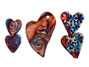 Heart Medley Raku Ceramic Beads Set of 5