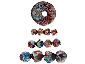 Raku Ceramic Flower Design Coin Focal and Free-Form Bead Set of 12 in 3 Sizes