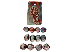 Raku Ceramic Rectangle Flower Design Focal and Free-Form Bead Set of 12 in 3 Sizes