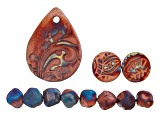 Raku Ceramic Flourished Drop Focal, Two Coin Shaped Focals, and Free-Form Beads Set of 8