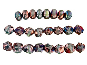 Raku Ceramic Turquoise Color Free-Form Bead Strand Set of 3 in 3 Styles