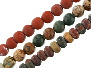 Red Creek Jasper Round and Rondelle and Red Jasper Large Hole Bead Strand Set of 3 Appx 8""